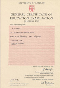 GCE O Level January 1963