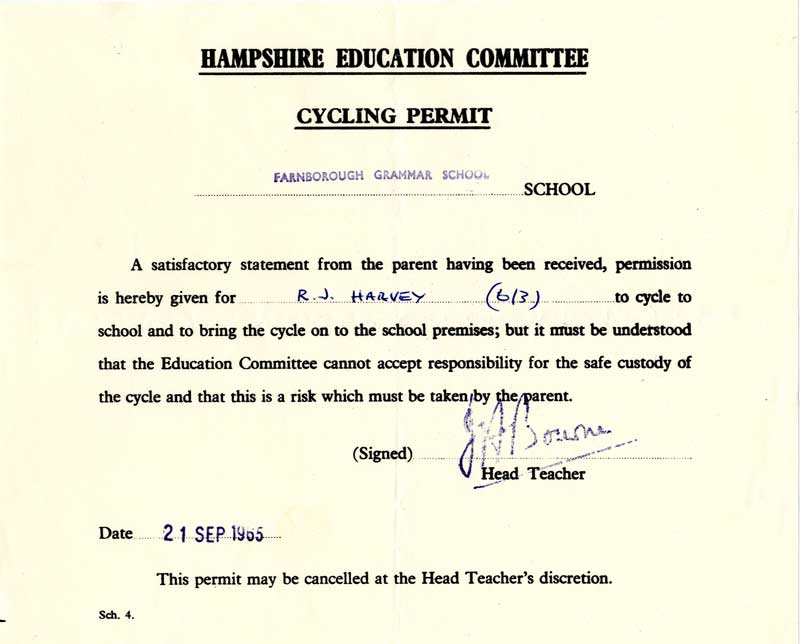 Cycling Permit - 1965